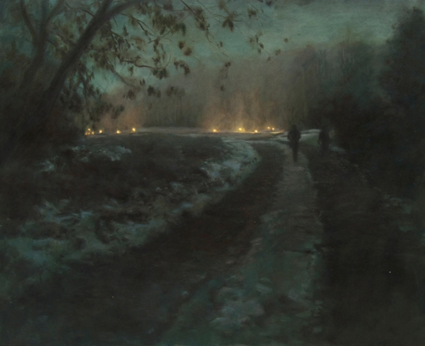 Route-de-nuit-hiver-oil-on-canvas-81x100cm-2011-Helene