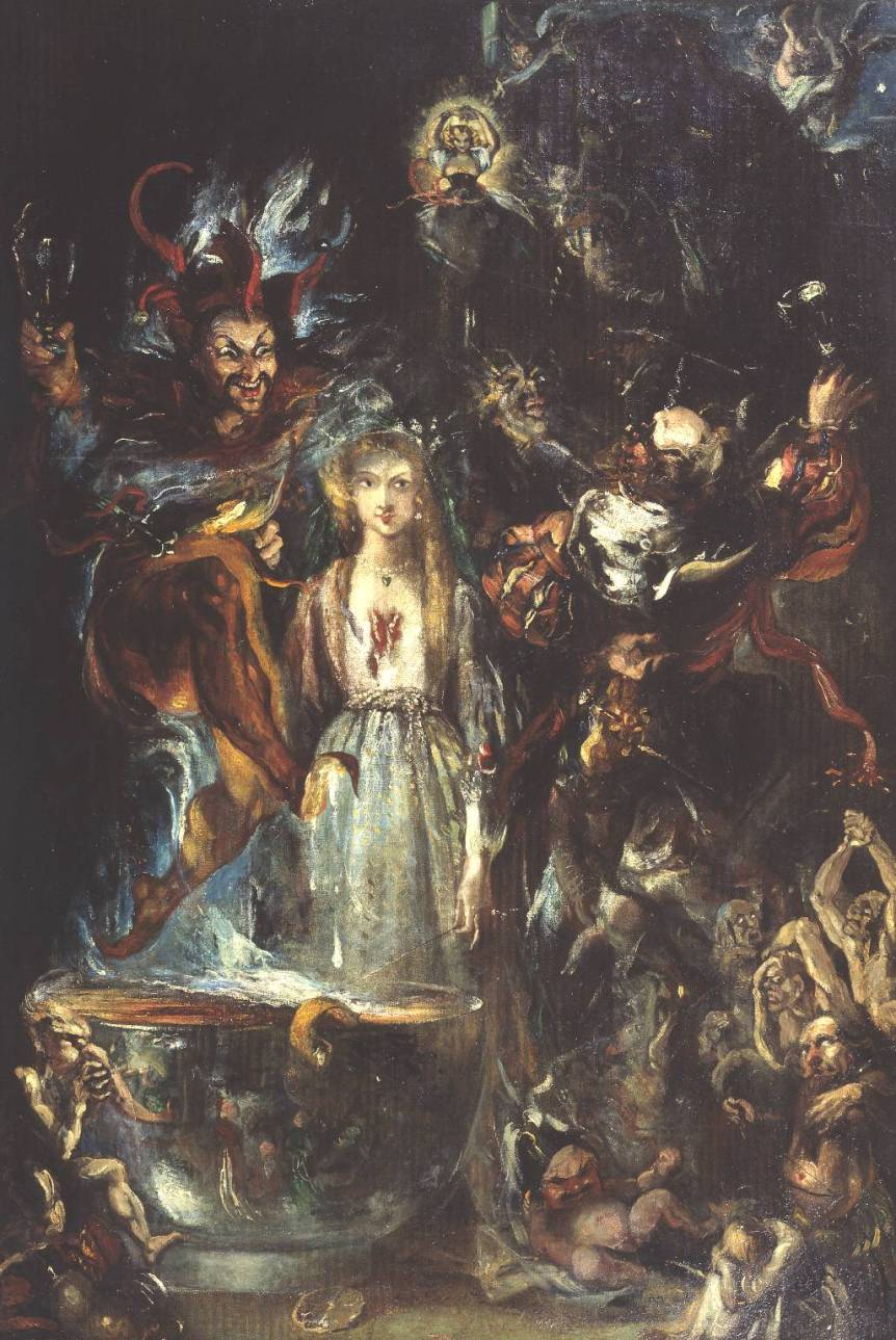 Fantasy Based on Goethe's 'Faust' 1834 by Theodore Von Holst 1810-1844