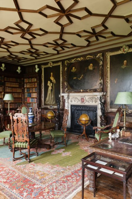 The Library at The Vyne, a 16th-century country house outside Sherborne St John, Basingstoke, Hampshire, England. The Vyne was built for Lord Sandys, King Henry VIII's Lord Chamberlain.