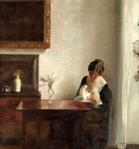 Carl Holsoe - Interior with Woman and Child
