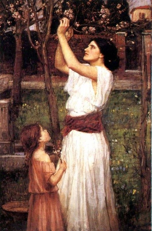 ohn William Waterhouse Gathering Almond Blossoms, 1916,